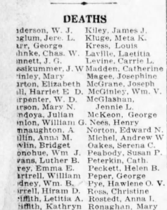 Louis Kress death - DEATHS jderson, W. J. Kiley. James J. iglum,...