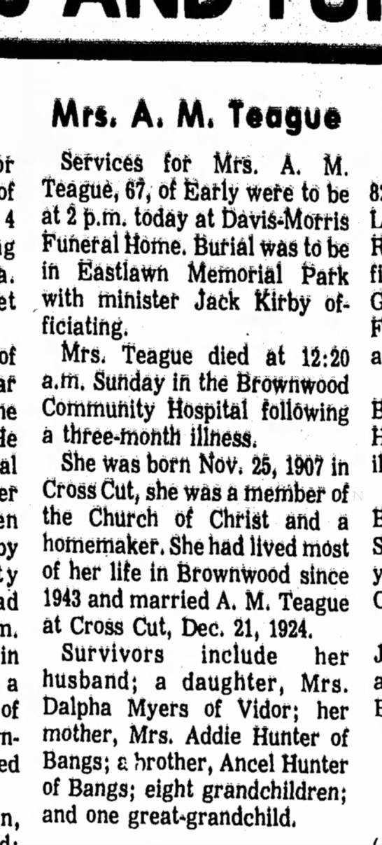 Sept 29, 1975 Brownwood Bulletin; Alma Teague - Mrs, A. M, Teogue 4 of by in a of Services for...