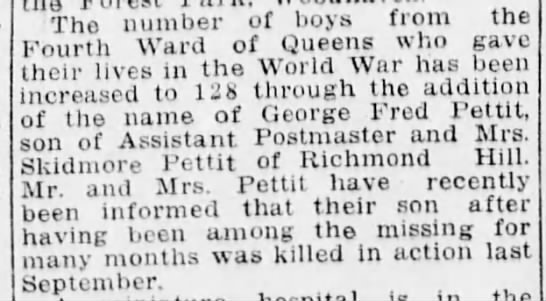 Pettit, George Fred War Casualty 1919 - The number oi noys uuiu cn.,rth Ward of oueens...