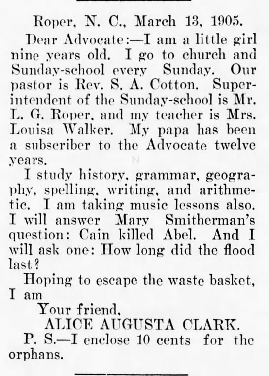 roper,nc - Roper, N. C, March 13, 1905. Dear Advocate: I...