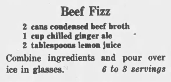 Beef fizz drink recipe, 1964