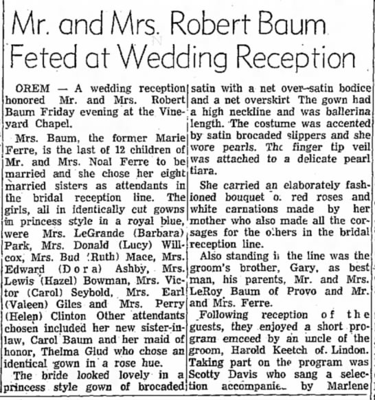 Ferre and Baum - Mr. and Mrs. Robert Baum Feted at Wedding...