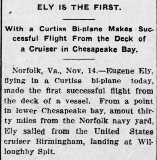 Eugene Ely becomes first person to fly a plane from the deck of a ship