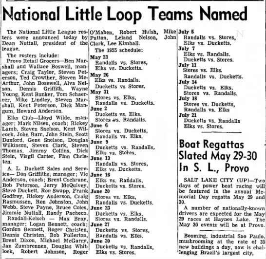 1955 Max Bray Little League - National Little Loop Teams Named The National...
