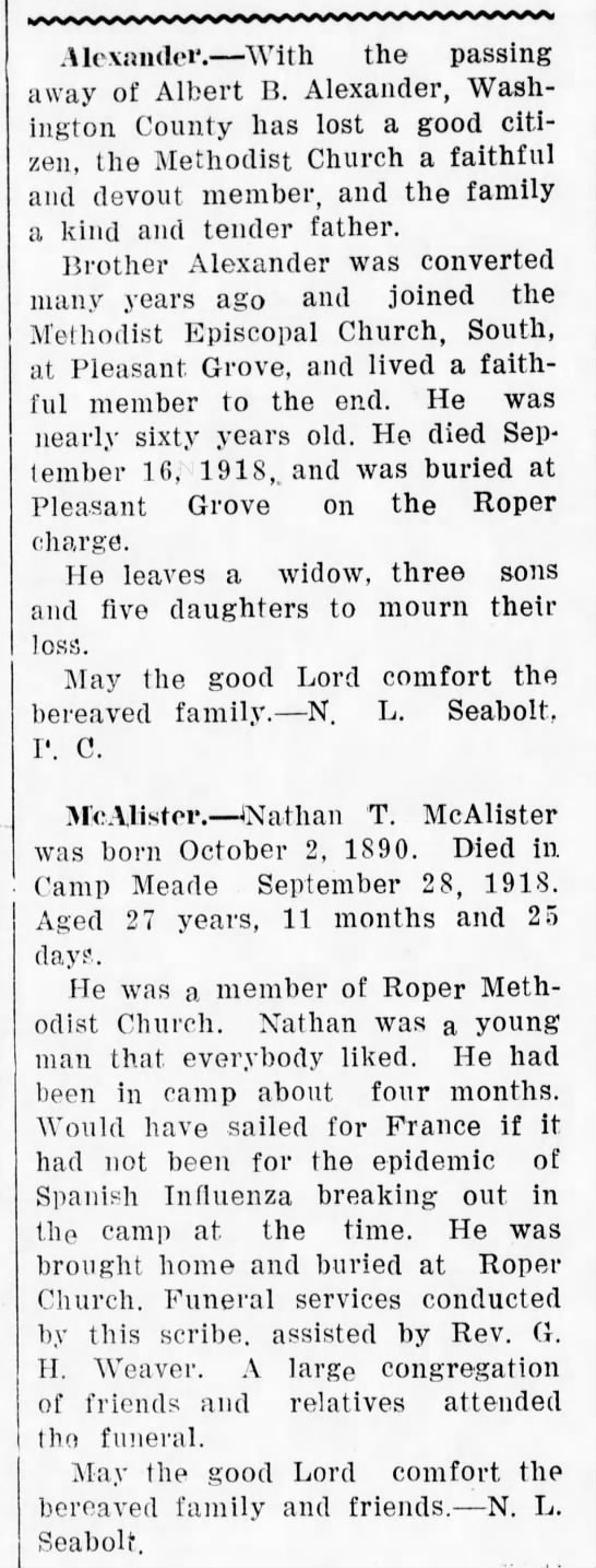 roper,nc - .Alexander. With the passing away of Albert B....