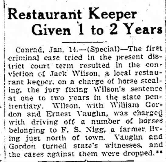 Ernest Vaughn 15 Jan 1924 Horse stealing - Restaurant Keeper Given 1 to 2 Years! PS , 1...