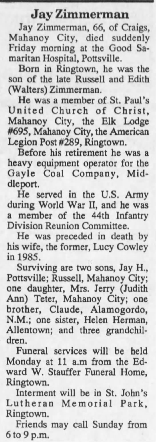 Jay Zimmerman Obituary 6 July 1990 - Jay Zimmerman Jay Zimmerman, 66, of Craigs,...