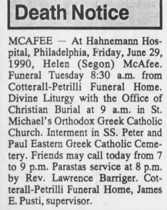 Helen Segon-McAfee funeral - Death Notice MCAFEE At Hahnemann Hospital,...