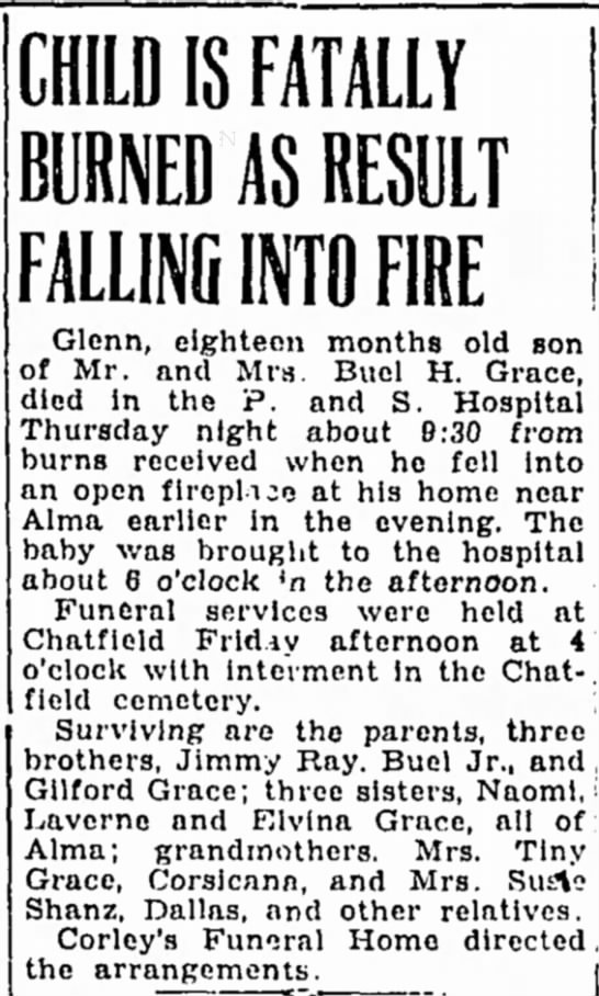 Glenn Grace fatally burned as a result of falling into a fire 1944 - CHILD IS FATALLY BURNED AS RESULT FALLING INTO...