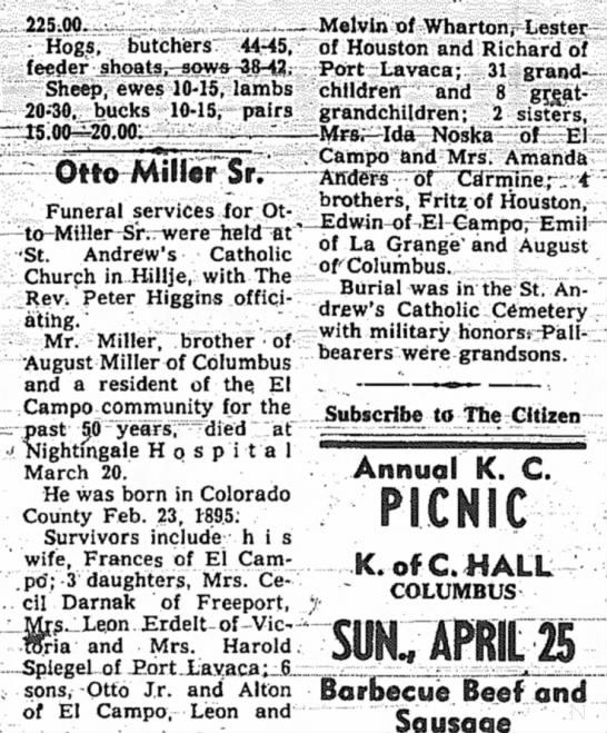 Grandpa Miller obit - 225.00 Hogs, butchers 44-45, feeder...