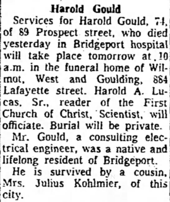 harold gould funeral announcement* - the Harold Gould jidence. 1546 Services for...