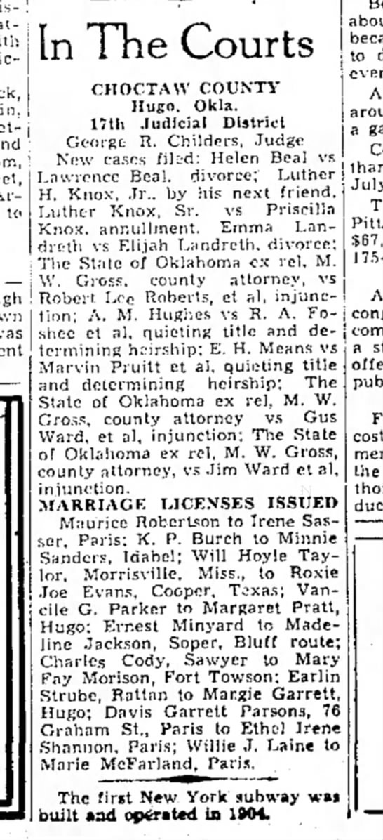 26 Sep 1939 Paris News - attack j to — In The Courts CHOCTAW COUNTY...