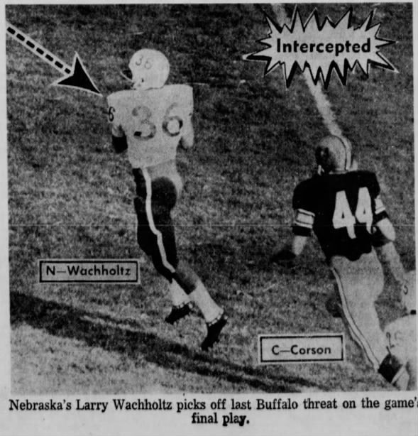 Wachholtz INT, Nebraska-Colorado football 1966