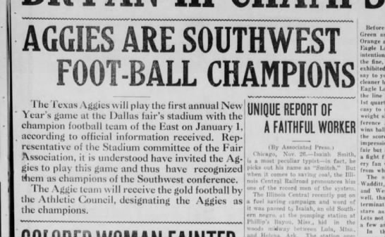 1921- Texas A&M Football - Champions - AGGIES ARE SOUTHWEST FOOT BALL CHAMPIONS I lie...