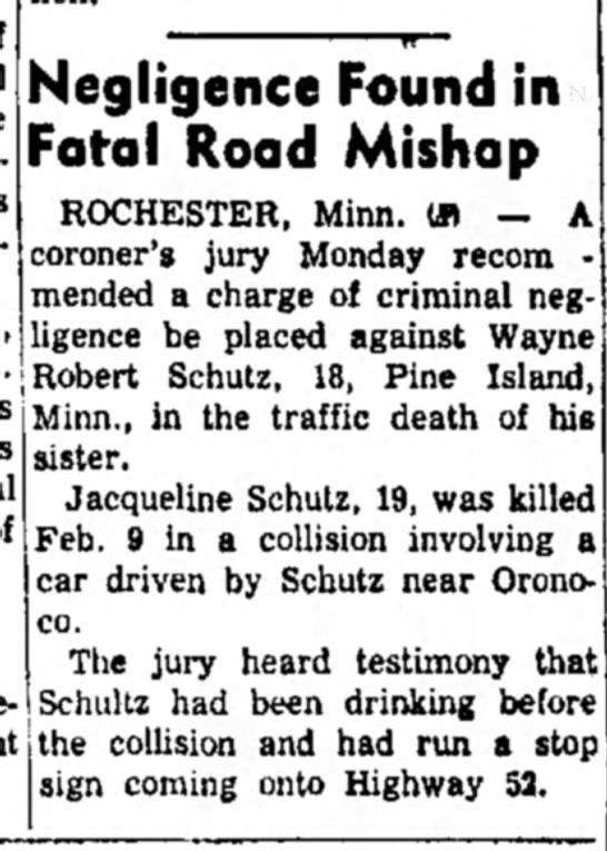 Schutz, Wayne Robert_25 Feb 1958 Article - Negligence Found in Fatal Road Mishap...