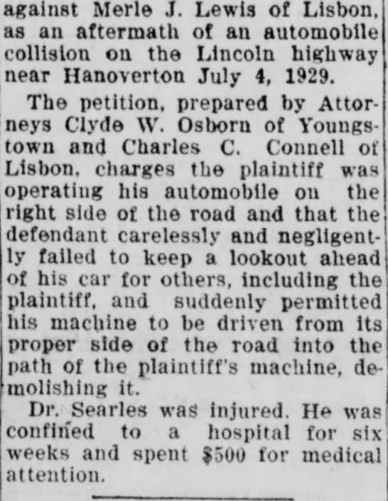 rest of article on auto accident - against Merle J. Lewis of Lisbon, as an...