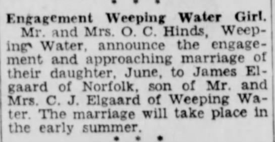 Jim and June Engagement Announcement - • * * Engagement Weeping Water Girl, j^r and...