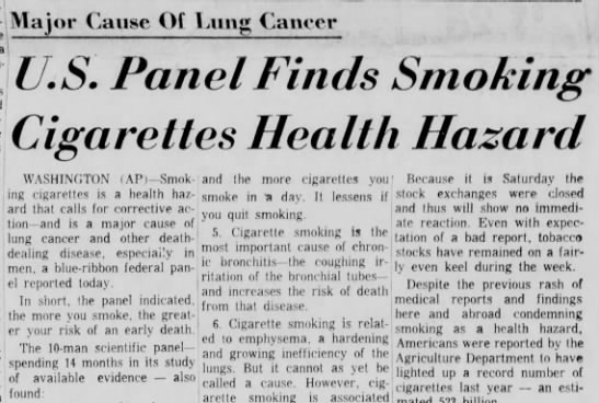 Landmark Surgeon General Report on the Health Hazards of Smoking - Major Cause Of Fung Cancer U.S. Panel Finds...