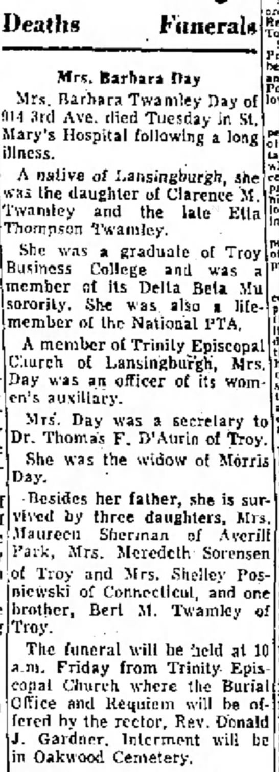 Mrs. Barbara Day Obituary - also sa not no far with take -sometimes Deaths...