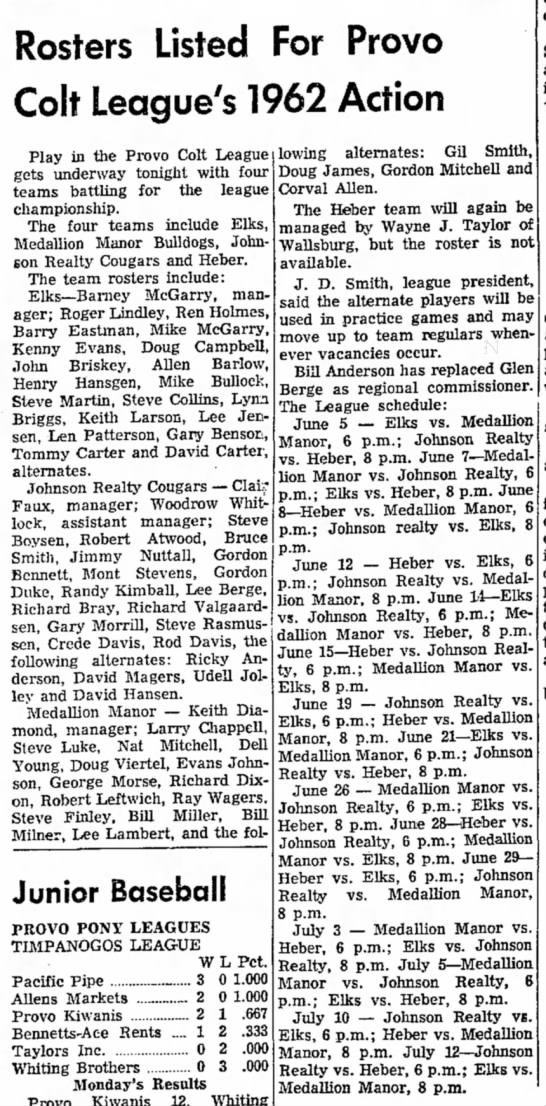 1962 Richard Bray - Rosters Listed For Provo Colt League's 1962...