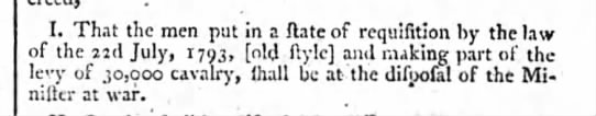 """Example of """"old style"""" date reference - I. That the men put in a state of requisition..."""
