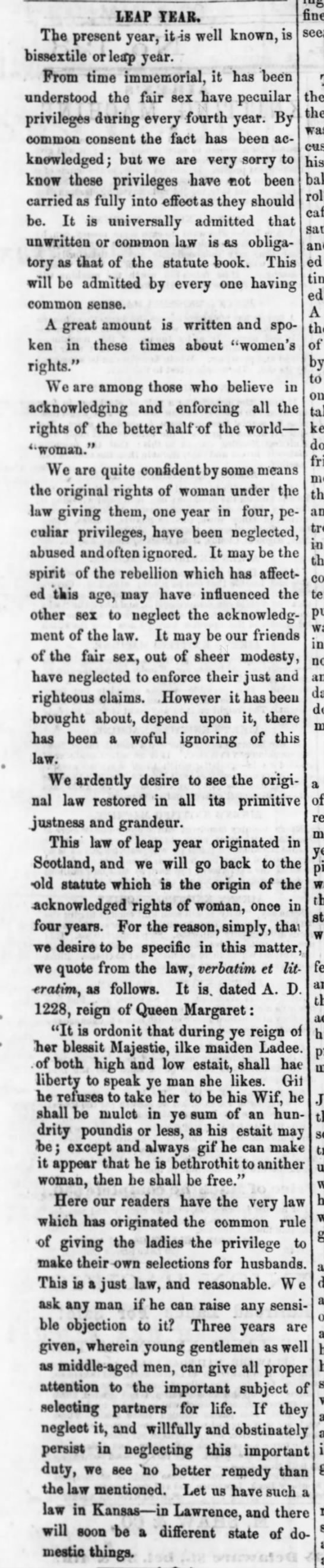 "1864: Need a revival of Leap Year ""law"""