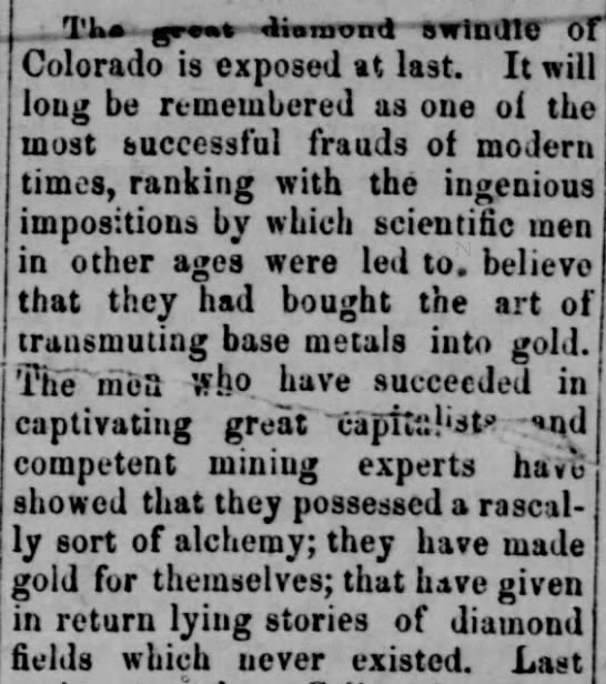 """Diamond hoax """"will long be remembered as one of the most successful frauds of modern times"""" - TKa ffgenmn diomontl SWlmne Of Colorado is..."""