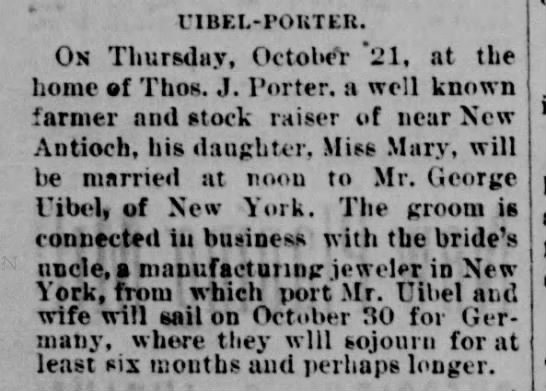 1886 George Uibel (Uible) marries Mary Porter. - riBEL-POUTER. Os Thursdiiy, October *21, at the...