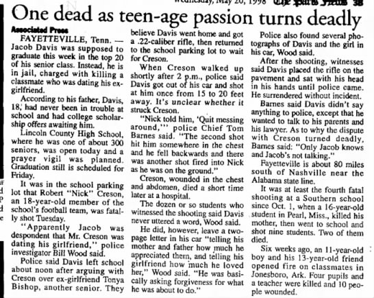- One dead as teen-age passion turns deadly...