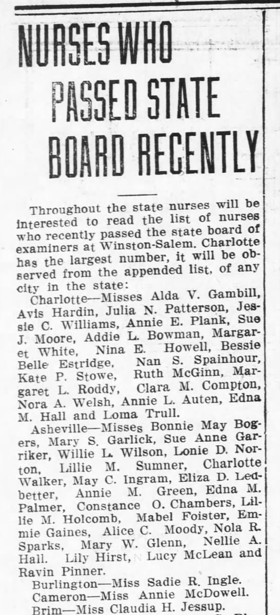 15 June 1916 Charlotte News Lucy Passed Nursing Board - m SED STATE BOARD RECENTLY Throughout the state...