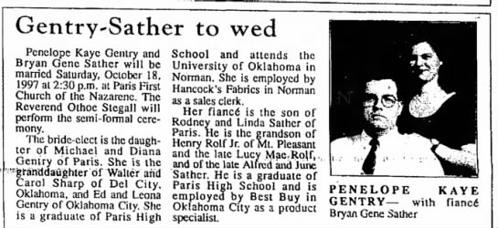 - Gentry-Sather to wed Penelope Kaye Gentry and...