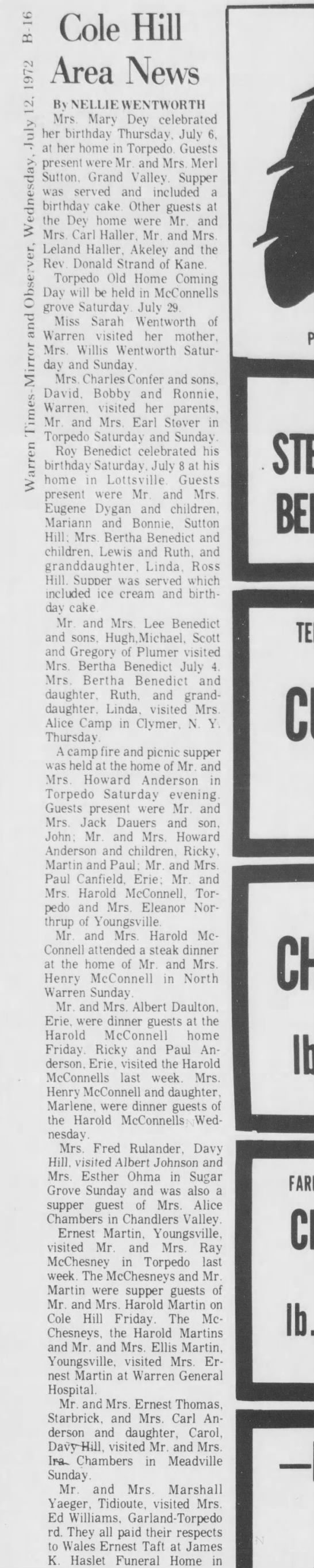 Warren-Times Mirror and Observer 12 Jul 1972 Wed - l Cole Hill Area News CO w c 0 La C 03 c By...