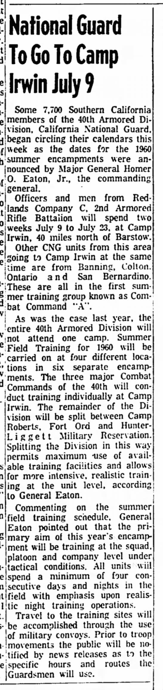 - National Guard To Go To Camp Irwin July 9 Some...