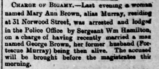 Mary Ann Brown - Bigamy - Chakoe of Biuamt. Last evening woman' named...