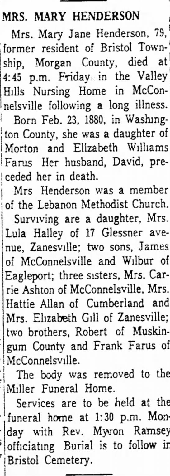 - MRS. MAKY HENDERSON Mrs. Mary Jane Henderson,...