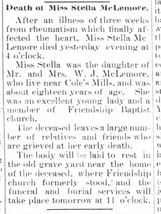Obituary of Stella McLemore - Death ot Miss Stella McLemore. After an illness...