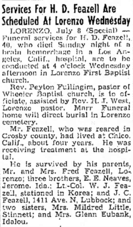 - Services For H. D. Feazell Are Scheduled At...