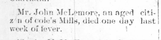Obituary of John McLemore, Carthage Blade 9 May 1893 - Mr, John McLemore, nn ncrod citi- citi- z'n of...