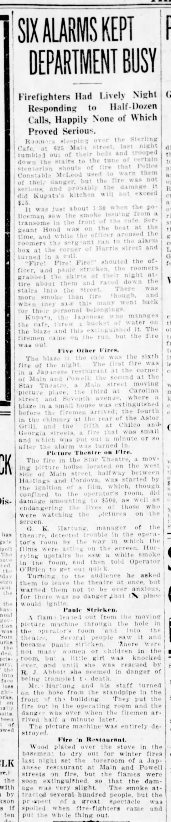 Fire at the Star 4Dec1912 - ha t p Ti.w 1i p On - in. the tin bavin mil cov...