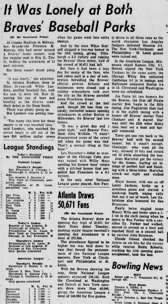 Atlanta Braves Debut in Atlanta - If Was Lonely at Both Braves Baseball Parks (By...