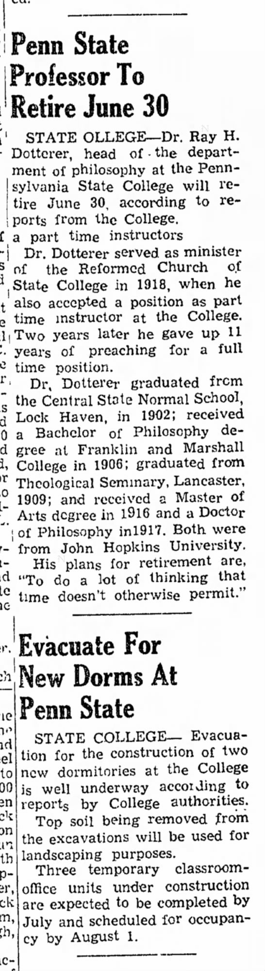 Ray Dotterer retire from PSU 18 Apr 1947 Clearfield Progress - Professor To Retire June 30 STATE OLLEGE--Dr....