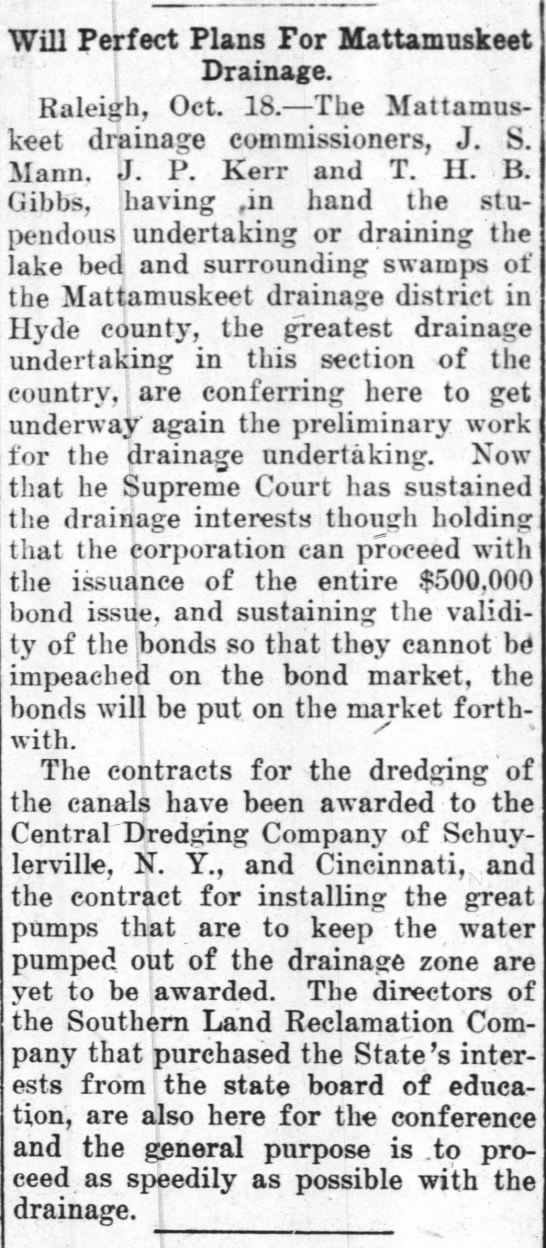 The Concord Times (Concord, North Carolina, Thursday, October 19, 1911, p. 4. - i . Will Perfect Plans For Mattamuskeet I...