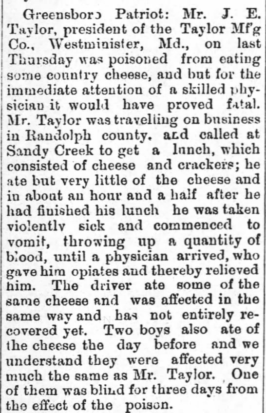 food poisoning - Greensboro Patriot: Mr. J. E. Taylor, president...