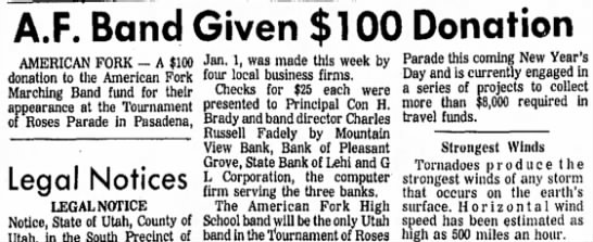 Daily Herald 11/14/71 - A.F. Band Given $100 Donation AMERICAN FORK - A...