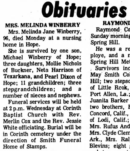 Winberry 23 Sejp 1975 p2 - Obituaries MRS. MELINDA WINBERRY Mrs. Melinda...
