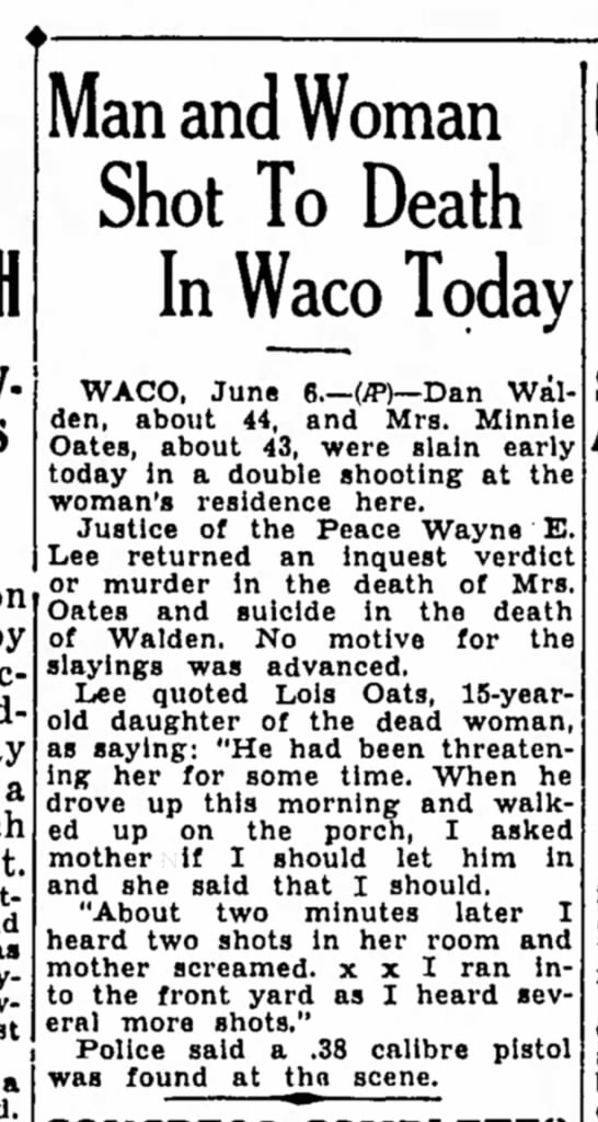 Waco Shooting, Oates, Walden - a Man and Woman Shot To Death In Waco Today...