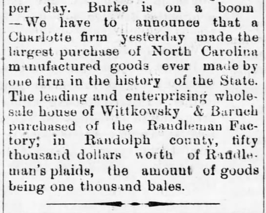 Randleman, from the Charlotte Journal - per day. Burke' is ou a boom We have to...