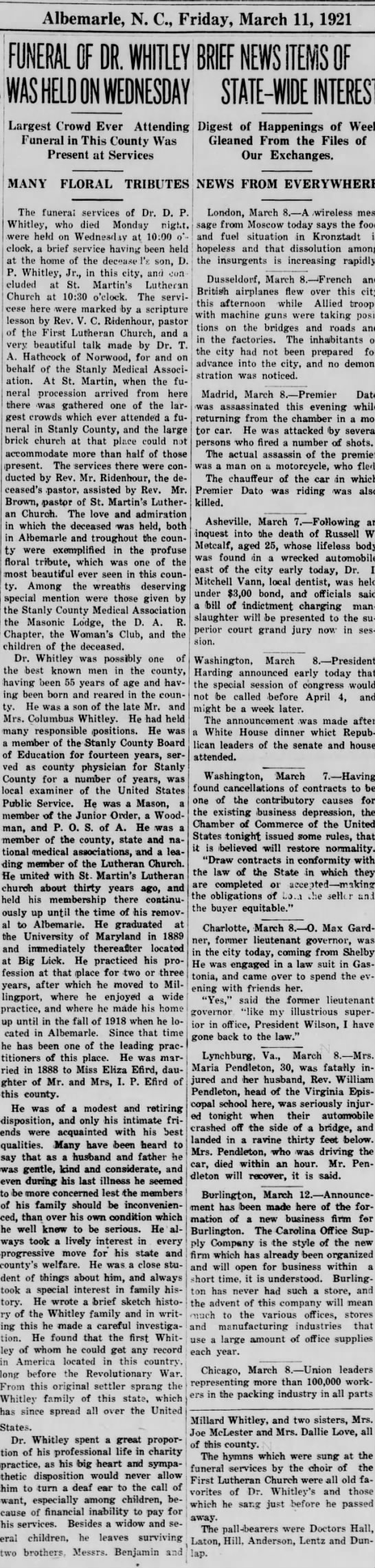 Funeral Obit for Dr. D.P. Whitley on 11 Mar 1921 - Albemarle, N. C, Friday, March 11, 1921 Largest...