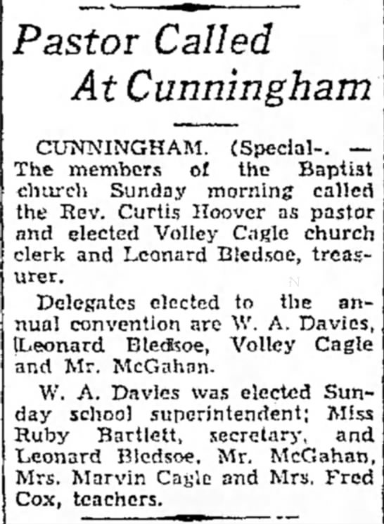 Baptist church 1937 - Pastor Called At Cunningham CUNNINGHAM....