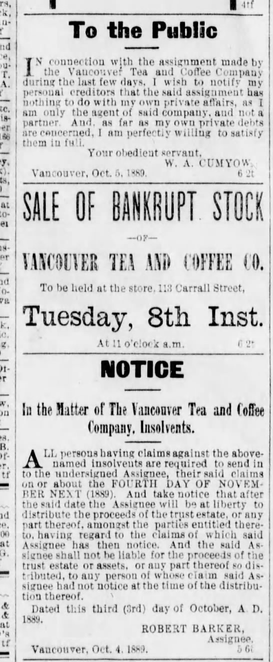 Van Tea & Coffee bankrupt - r. A. - per ItW at - - B. - tf at o. A 4 at tf...